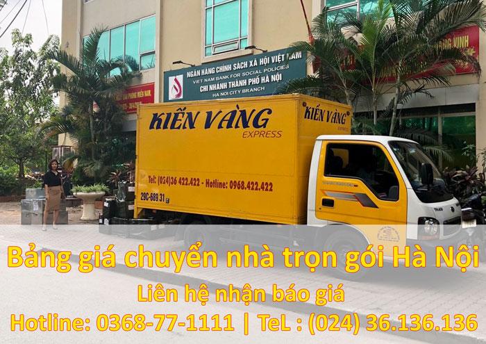 Bảng giá chuyển nhà trọn gói tại Hà Nội